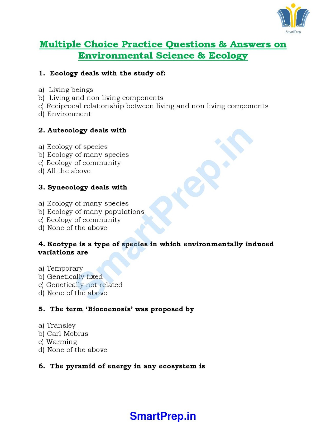 environmental science objective questions and answers pdf