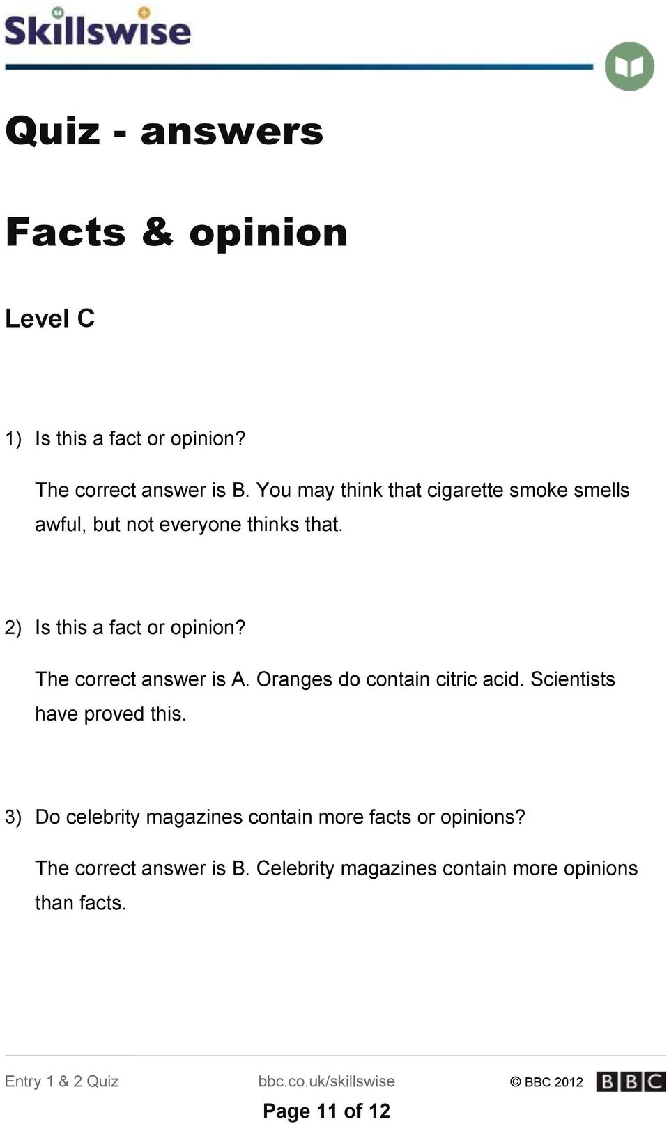 fact and opinion quiz pdf with answers