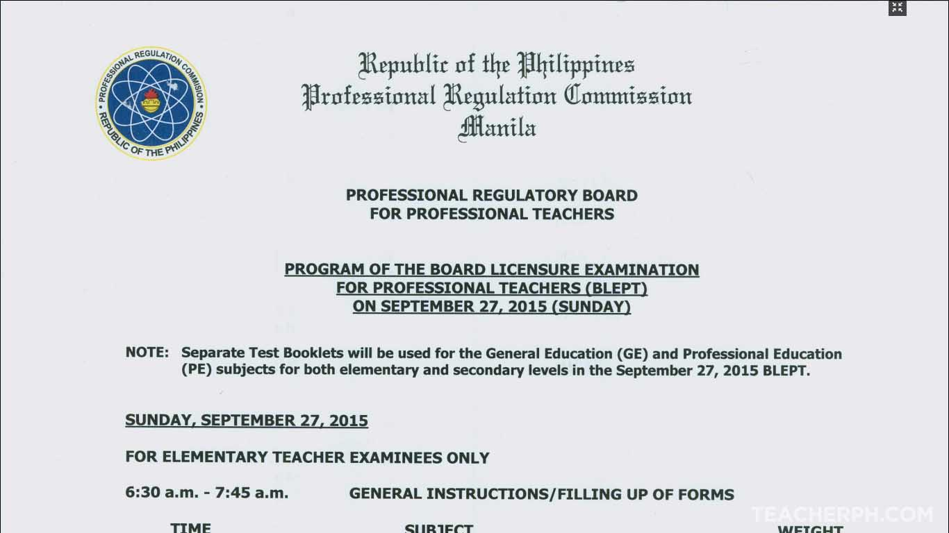 general instruction for lept examinees