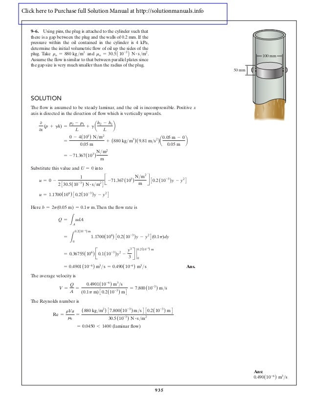 fluid mechanics hibbeler full solution manual