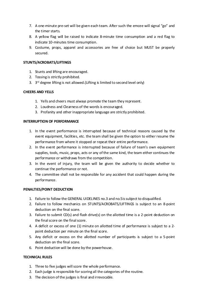 guidelines and mechanics for modern dance contest
