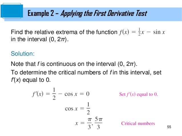 examples of application of derivatives