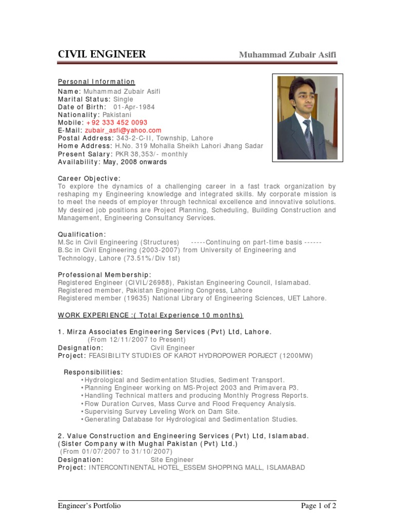 cv sample for job application doc for civil engineers