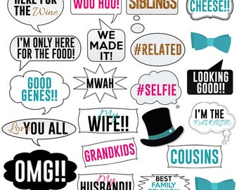 family reunion photo booth props printables pdf