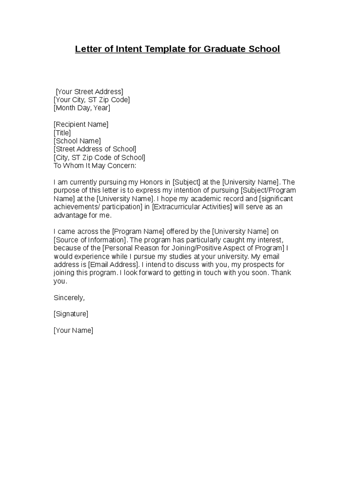 example of intent application letter for fresh graduate