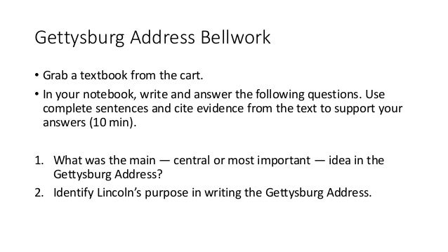 guide questions for gettysburg address
