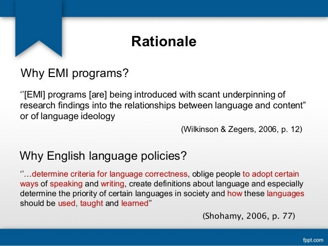 english as a medium of instruction rationale