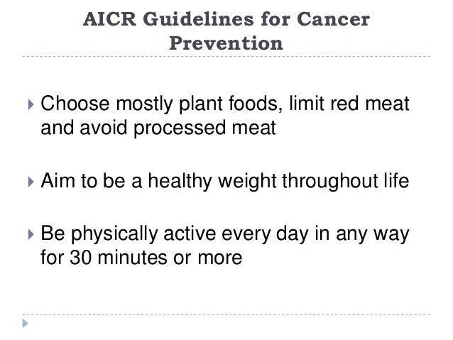 guidelines to avoid or can lower cancer risk